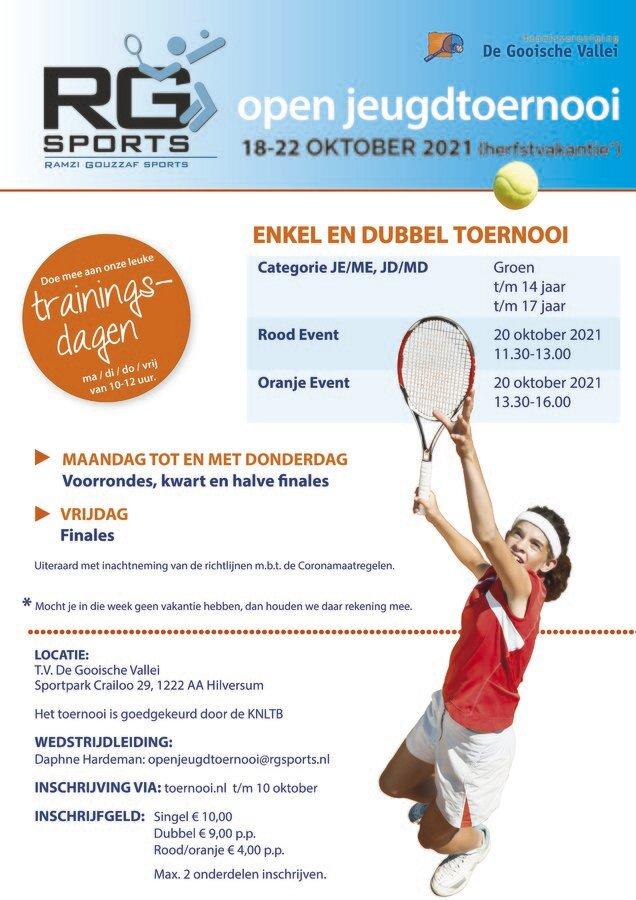 RG sports open jeugdtoernooi in de herfstvakantie